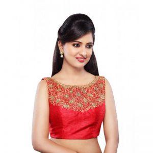 Red Dupion Silk Zari Work Readymade Blouse