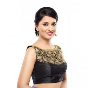 Black Dupion Silk Zari Work Readymade Blouse
