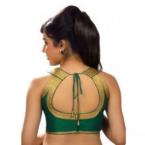 Rama Green Dupion Silk Embellised Readymade Blouse