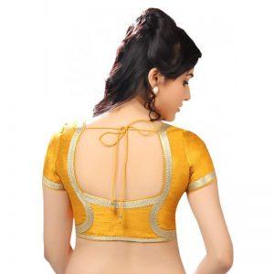 Mustard Dupion Silk Lace Work Readymade Blouse