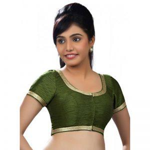 Mehendi Green Dupion Silk Lace Work Readymade Blouse