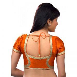 Orange Dupion Silk Lace Work Readymade Blouse