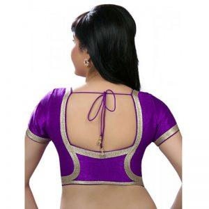 Brinjal Dupion Silk Lace Work Readymade Blouse