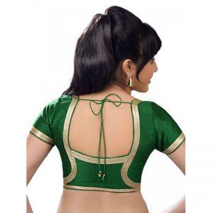 Green Dupion Silk Lace Work Readymade Blouse