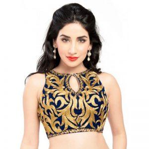 Royal Blue Velvet Zari Embroidery Readymade Blouse