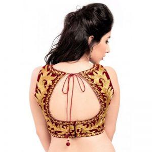 Maroon Velvet Zari Embroidery Readymade Blouse