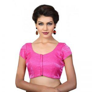 Pink Fancy Fabric Plan Work Readymade Blouse