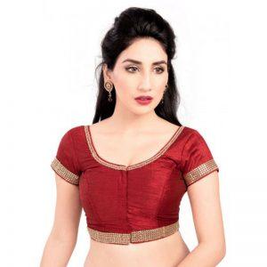 Maroon Zari Work Dupion Silk Readymade Blouse