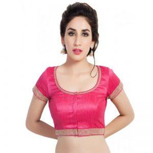 Pink Zari Work Dupion Silk Readymade Blouse