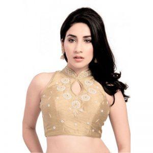 Gold Moti Work Fancy Fabric Readymade Blouse