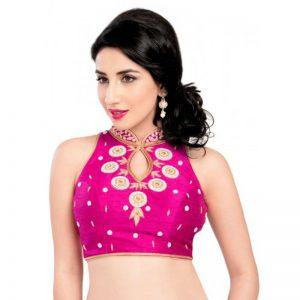Pink Moti Work Fancy Fabric Readymade Blouse