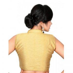 Gold Plain Dupion Silk Collar Blouse Readymade-Blouse