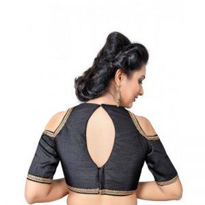 Black Zari Work Dupion Silk Readymade Blouse