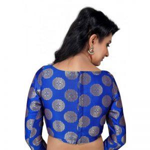 Royal Blue Embellished Raw Silk Readymade Blouse