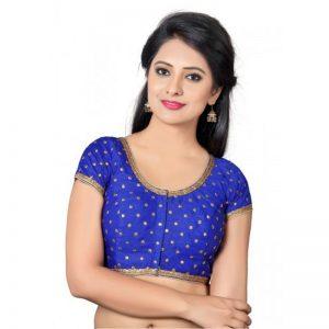 Royal Blue Zari Embellished Dupion Silk Readymade Blouse