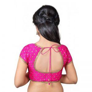 Pink Zari Embellished Dupion Silk Readymade Blouse