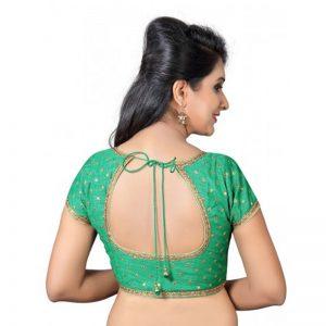 Green Zari Embellished Dupion Silk Readymade Blouse
