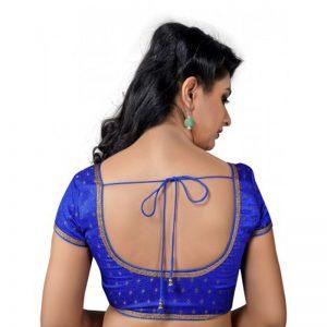 Royal Blue Embellished Brocade Readymade Blouse