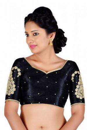 Black Zari Embroidery Work Dupion Silk Readymade Blouse