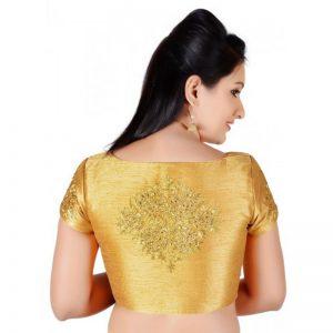 Gold Zari Embroidery Work Dupion Silk Readymade Blouse