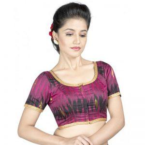 Maroon Ikat Silk Ikat Silk Stitched Blouse