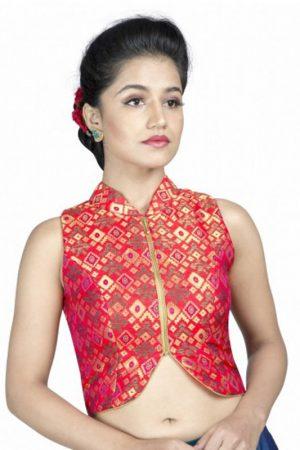Pink Zari Work Silk Readymade Blouse