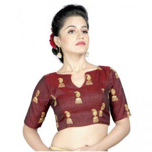 Jhumka Printed Maroon Silk Designer Blouse