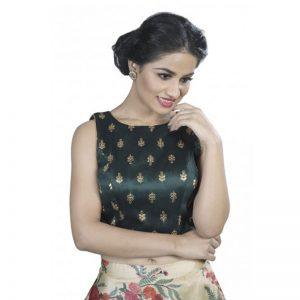 Dark Green Zari Embroidery Dupion Silk Readymade Blouse