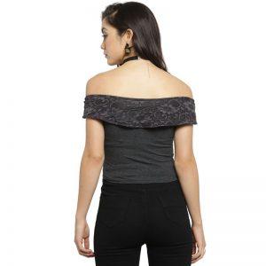 Grey Off Shoulder Cotton Lycra Stretchable Blouse