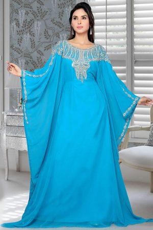 Blue Embroidered Faux Georgette Farasha