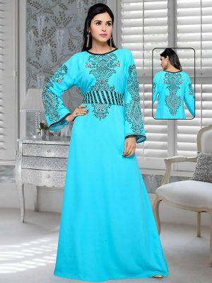 Blue Embroidered Faux Georgette Kaftan