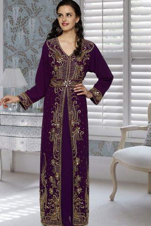 Purple Embroidered Faux Georgette Kaftan