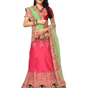 Buy Silk Pink Heavy Lehenga Choli