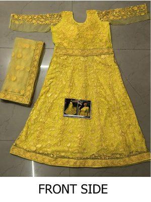 Alia Bhatt Nylon Mono Net Yellow Replica Gown