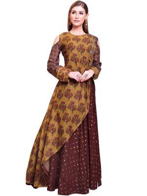 Buy Pure Chanderi Dark Brown & Yellow Indo Western