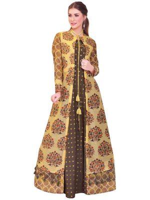 Buy Pure Chanderi Yellow & Brown Indo Western