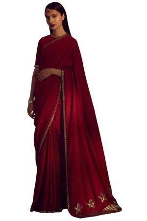 Aishwarya Rai Red Georgette Plain Replica Saree