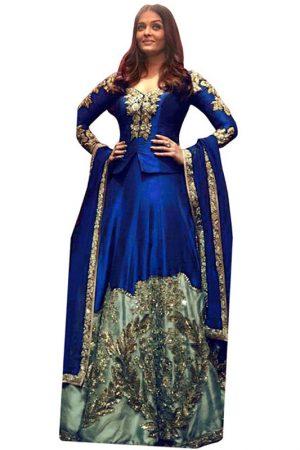 Aishwarya Rai Taffeta Silk Blue Bollywood Lehenga Choli
