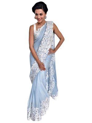 Buy Georgette Light Sky Blue Replica Lehenga Choli