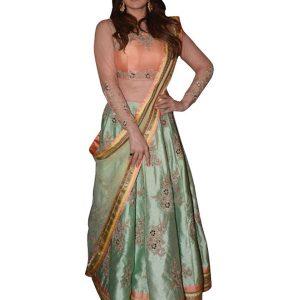 Zarine Khan Paper Silk Rama Green Bollywood Lehenga Choli