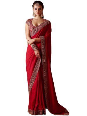 Buy Silk Red Bollywood Replica Saree