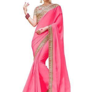 Buy Silk Georgette Pink Replica Saree