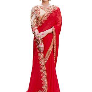 Buy Silk Georgette Red Replica Saree