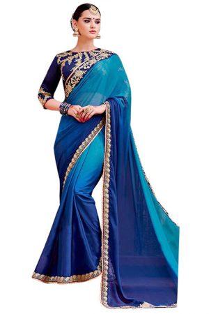 Buy Padding Silk Blue Replica Saree