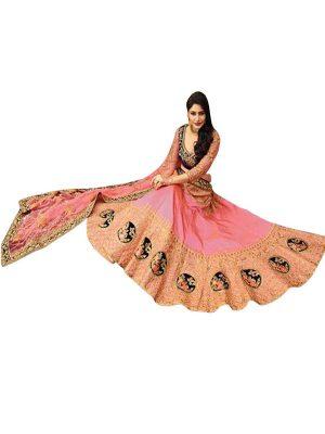 Anika Paper Silk Pink Replica Lehenga Choli