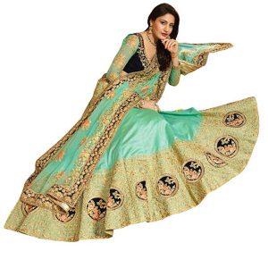 Anika Paper Silk Rama Green Replica Lehenga Choli