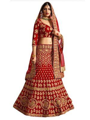 Anika Banglori Silk Red Replica Heavy Lehenga Choli