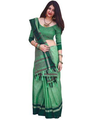 Buy Cotton Silk Dark Green Replica Saree