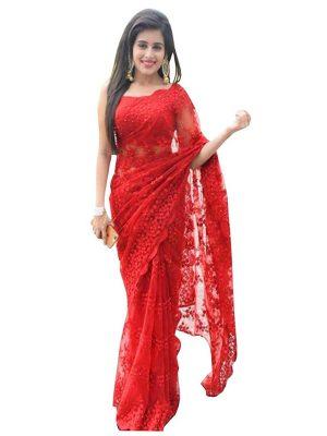 Rhea Sharma Nylon Mono Net Red Replica Saree
