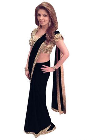 Buy Georgette Black Bollywood Saree